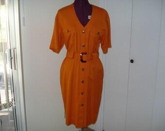 Pumpkin dress with tortoise shell buttons and belt buckle  Size 6