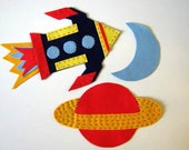 Rocket, planet and moon felt wall decals