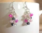 Wire Wrapped Silver Dangle Earrings Glass Beads Bright Pink, Light Pink, Gunmetal Black & Clear