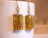 Light Amber Rectangle Lampworked Glass Bead Dangle Earrings - FREE SHIPPING to the USA