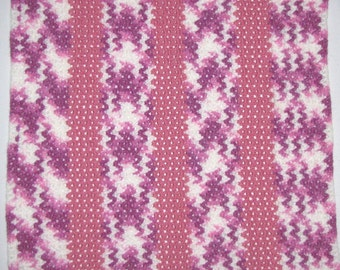 Handmade Pink, White and Lavendar Crocheted Baby Blanket Afghan