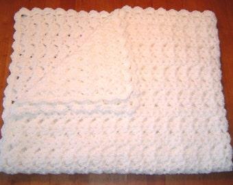 Handmade White Crocheted Baby Blanket Afghan