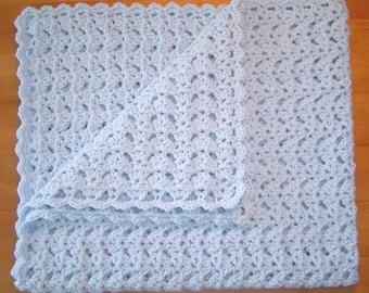 Handmade Pastel Blue Crocheted Baby Blanket Afghan