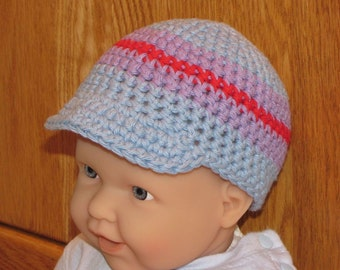0 - 12 month Cotton Crocheted Beanie Cap with Visor - Blue, Purple, and Red