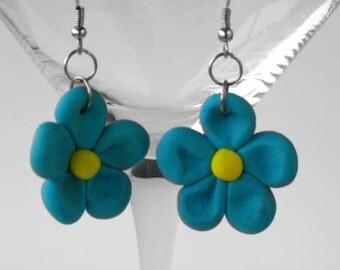Blue Flower Earrings, Polymer Clay, Dangle Earrings, Handsculpted, Carribean Blue, Yellow, Cottage Chic, Floral Earrings, Dairy Earrings