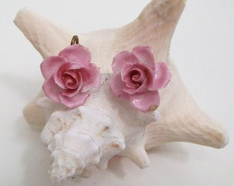 Vintage Coalport Screw Back Earrings Pink Roses English China