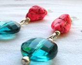 Think Pink SALE - Pink Flamingo II...Pink and Teal Sterling Earrings (FREE Shipping)