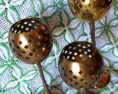 Vintage 70s Indian Brass Trio Votive Candle Incense Holder Set