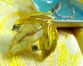 Lovely Lemon Tree...Vintage 60s OOAK Repurposed Lemon Yellow Lucite Earring Pendant on 40s Asian Knot Chain & Chain Accents Necklace