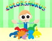Reserved for PattysPrettyThings Colorsaurus - Children's Book - dinosaur book - FREE SHIPPING US - SALE