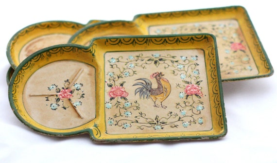 Vintage Rooster Trays Hand Painted set of 4 ISCO