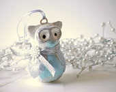 Owl Christmas Ornament - Silver and Blue Glittery Owl - Christmas Tree Ornament - Holiday Decor