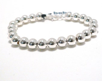 Sterling Silver 6mm Ball Bracelet - Weddings Bridal Bridesmaid Gifts