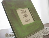 Faith Hope Love Framed Stitchery in Moss Green Primitive Wooden Frame