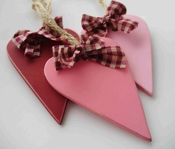 Set of Three Valentine Colored Rustic, Pimitive Wooden Heart Ornaments