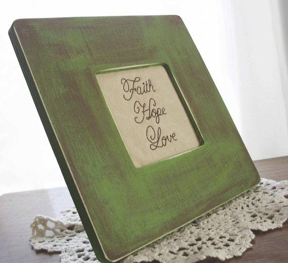 Faith Hope Love Framed Stitchery in Moss Green Primitive Wooden Frame