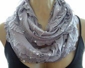 Last One.....Glamorous Gray......Flamenco..Necklace Scarf....Silver dusted and sequined....Le dernier cri...