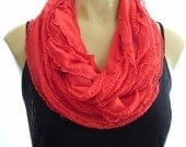 Coral Red...Flamenco..Necklace Scarf...Relaxed Version...Le dernier cri...