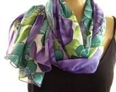 Last one..Purple Pansies..Purples and Greens...Floral Chiffon  Scarf...Parisian Neck Tissu...
