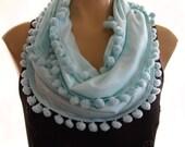 Pompom Necklace Scarf....Aqua...Summer scarf...Playful Chic