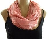 Last One..Soft Salmon Pink...Flamenco..Necklace Scarf....Le dernier cri...