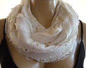 Limited time only...Glamorous Winter white/Cream/Ivory......Flamenco..Necklace Scarf....Gold sequined....Le dernier cri...