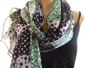 Irish Green..Patchwork design....Parisian Neck Tissu...Extra long