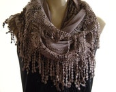Last one...La Boheme..Chocolate Milk laced and fringed Necklace/Infinity scarf. Love story.