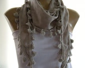 Last One  Sahara sand, Cotton Tassel scarf, cotton sand color scarf with tassels
