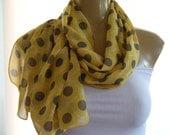 Sunny yellow and gray...Polka Dots....Parisian Neck Tissu..