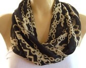 Reserved for Cori...Chanel Inspired.....Lots of Chains..Black and golden beige.Necklace scarf..Infinity scarf..Tube version..Vintage fabric