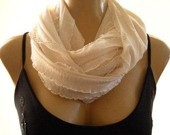 Ivory ruffle infinity scarf, Cowl .Flamenco  Necklace Scarf-Le dernier cri