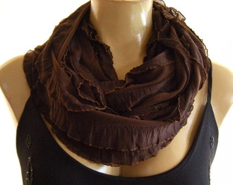 Chocolate brown ruffled infinity scarf  Brown ruffle cowl Dark brown ruffle scarf Chocolate Layers Flamenco Necklace Scarf-