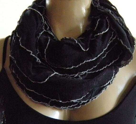 Last One...Timeless.....Black with white tips ...Flamenco..Necklace Scarf....Le dernier cri...