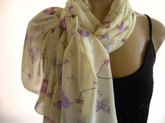 Pale Yellow  long chiffon scarf with Lavender and Purple colored Butterflies-Parisian Neck Tissu