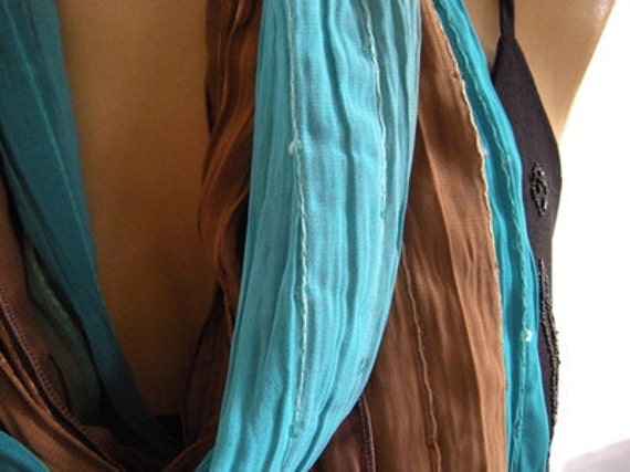 Mare...Turquoise blue and earthy Browns...Necklace Scarf....Chiffon....Euro Chic...