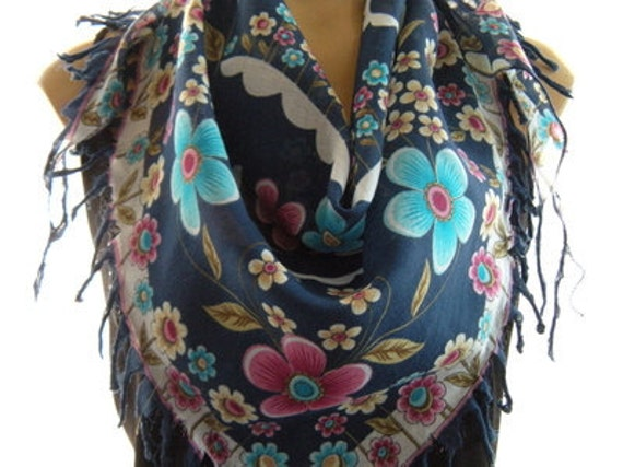 Anatolian Cotton Gauze Scarf..Limited supply....Petrol Blue with Pink and Turquoise Flowers...Hottest Mediterranean Trend..