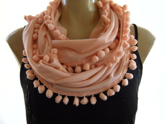 Reserved for Wendy...Pompom Necklace Scarf....Pale Peach....Playful Chic