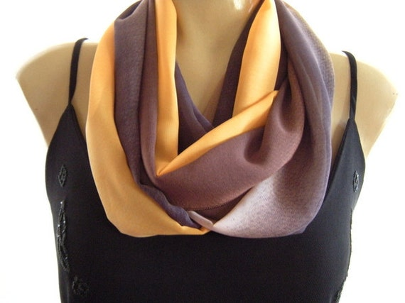 Autumn Sky One..Brown, Taupe and Golden yellow...Necklace Scarf......Chiffon....Instant gratification...