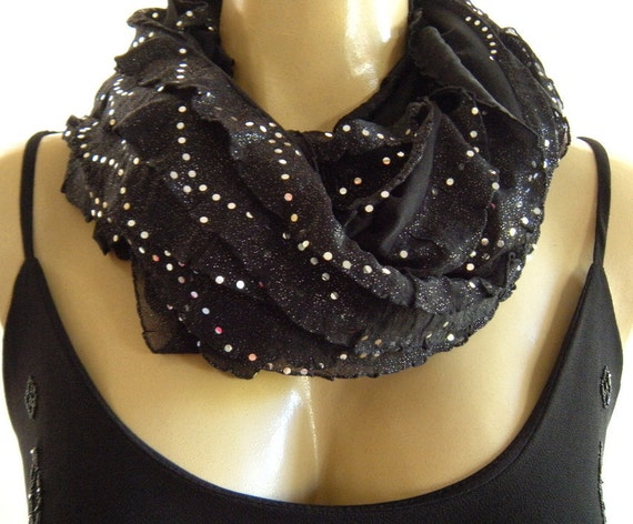 Glamorous Black Ruffle infinity scarf  Silver dusted and sequined black ruffled cowl Eternity circle loop scarf