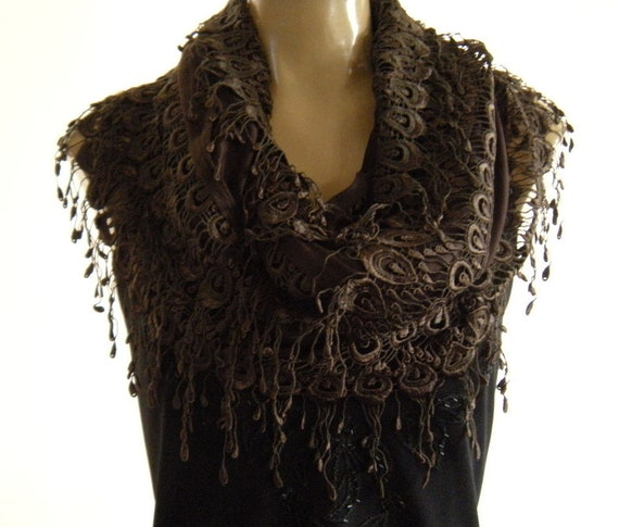 La Boheme..Dark Coffee Brown...laced and fringed Necklace/Infinity scarf. Love story.