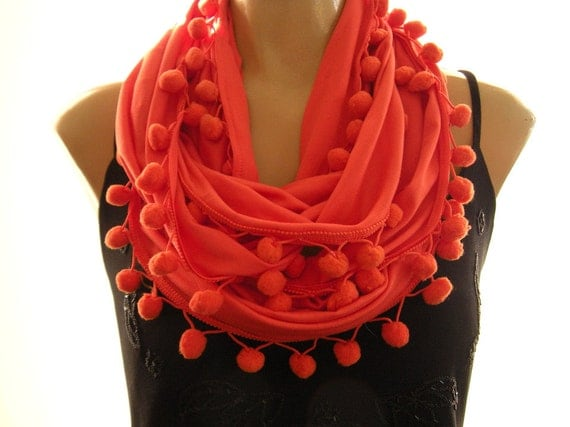 Reserved for Beth......Pompom Necklace Scarf..Orange with a hint of Coral....Playful Chic