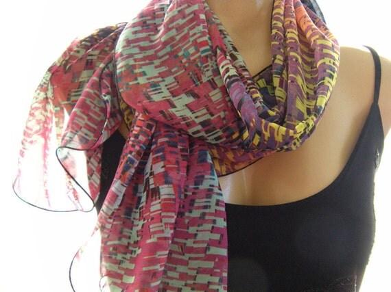 Pixel Scarf...Colorful... Chiffon.. Parisian Neck Tissu...