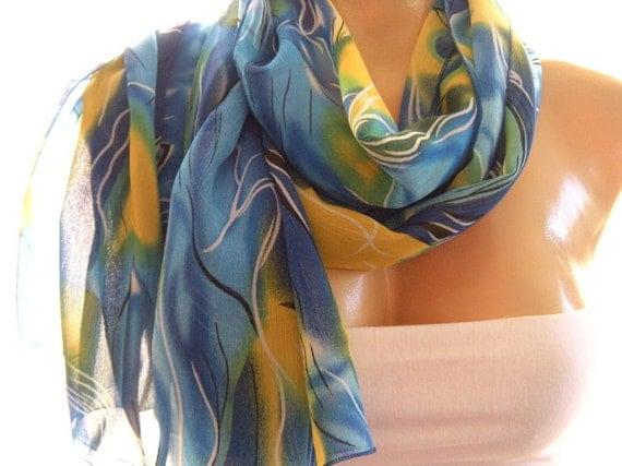 Under the sea  Blue and Yellow Chiffon Summer Scarf-Parisian Neck Tissu...
