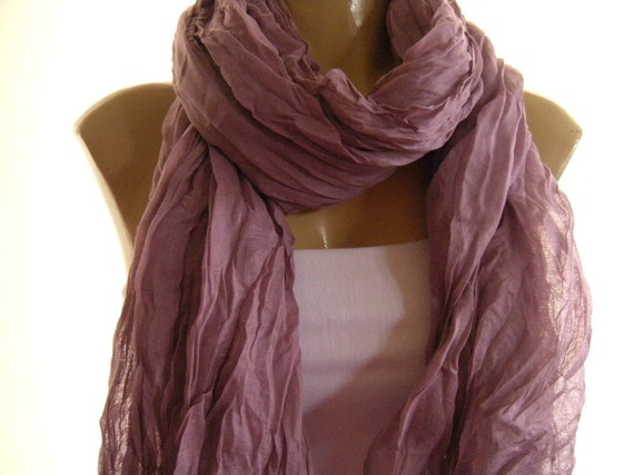 Last one  Mauve Shadows long summer scarf Summer Rag  Crinkled Voile-Celebrity Trend