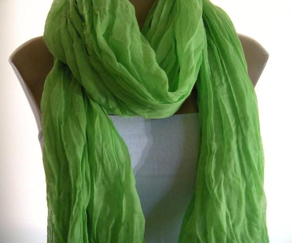 Vibrant Spring Green...Summer  Rag...Unisex...Crinkled Voile... .Celebrity Trend
