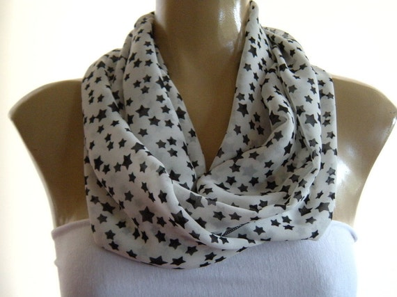 White Constellation....Black and White...Necklace Scarf......Chiffon....Instant gratification...