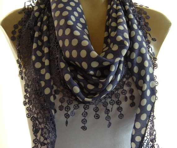 Darling Dots..Purple and White Polka Dots...Cotton Blend...Richly Fringed...Mediterranean fever.... Summer collection