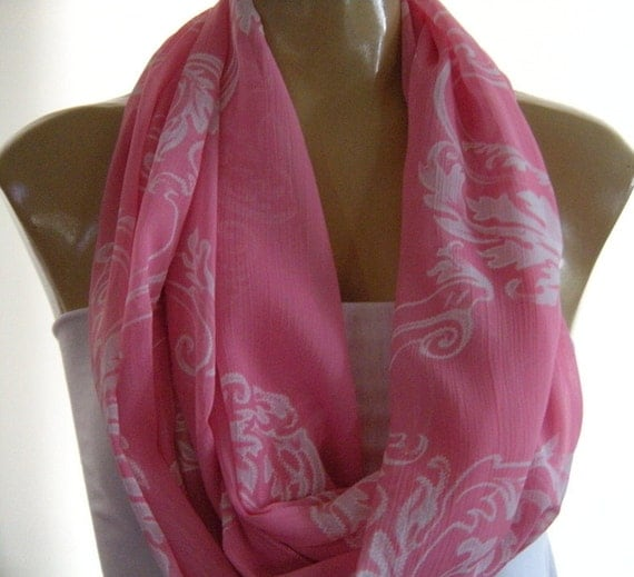 Time for Pink.....Pink and white.....Scroll patterned...Necklace Scarf....Chiffon....Euro Chic...