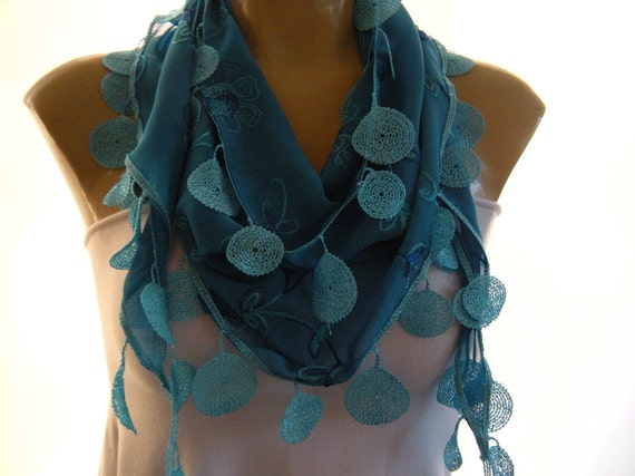 Gorgeous Blue....Embroidered Chiffon..Coin Fringed...Mediterranean fever.... Summer collection..Only one available